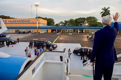 U.S. Secretary of State John Kerry waves goodbye before boarding his Air Force jet at Jose Marti International Airport in Havana, Cuba, on August 14, 2015, after becoming the first person in his job to visit the island nation in 70 years. [State Department photo/ Public Domain]