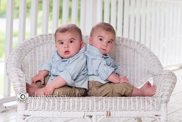 Twin boys on the porch