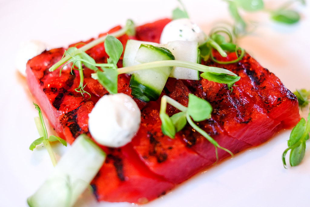 The Disgruntled Chef: Prix Fixe Weekday Lunch, Grilled Watermelon with garlic chive labneh, pea shoot and balsamico