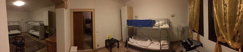 Conjoined hostel room.
