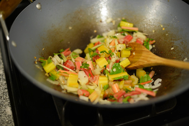 sauteeing garlic, onions, chard stems in bacon fat & olive oil