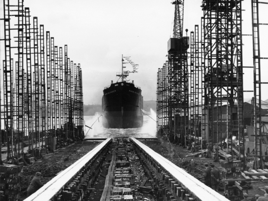 Launch of the cargo ship 'Baron Belhaven'