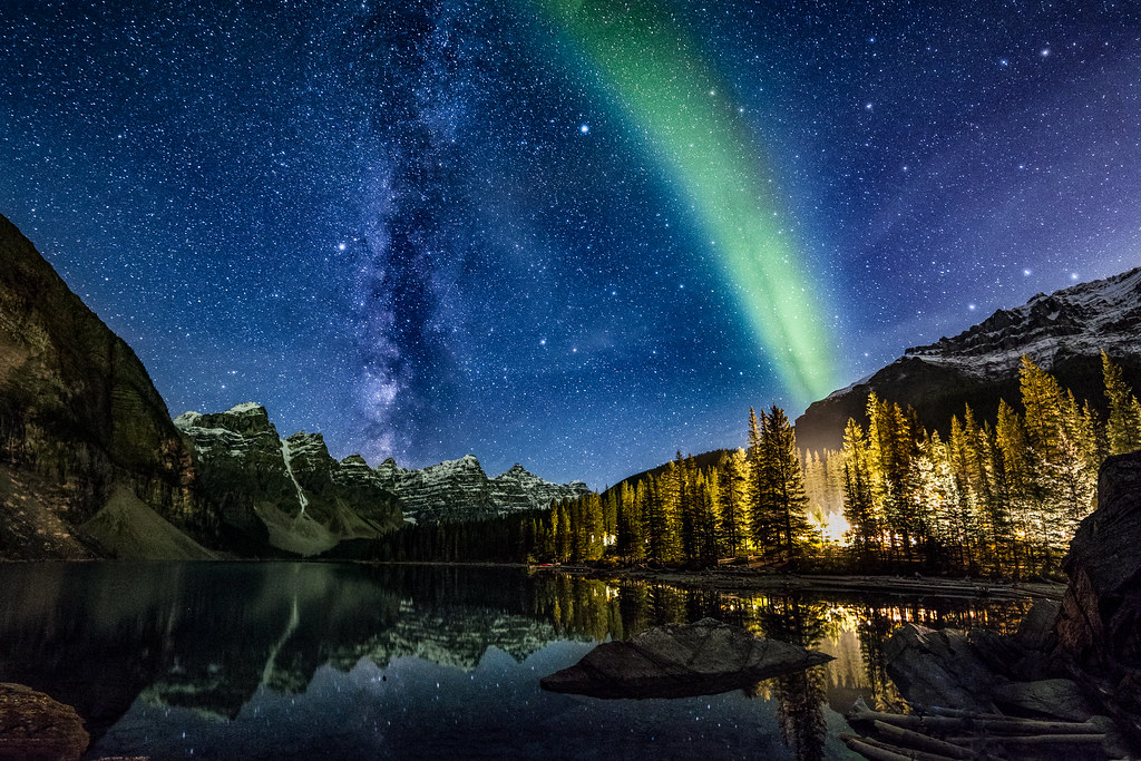 Milky Way & Aurora Borealis over Ten Peaks, Moraine Lake