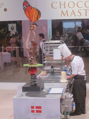 Chocolate sculptured is made by the chef - Salon du Chocolat