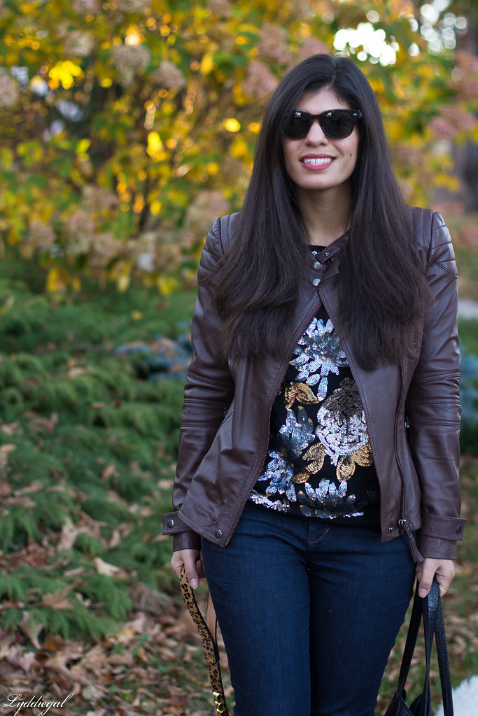 sequined sweater, brown leather jacket, jeans-1.jpg