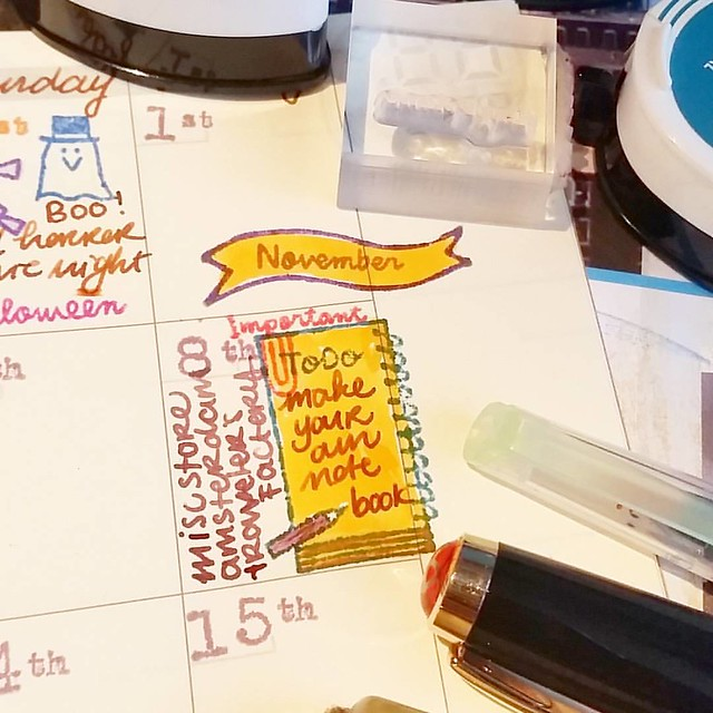 This stamp from @_sakuralala_ ' s school set was perfect to mark this unique day at @misc_store_ams #travelersfactorycaravan #plannerlove #plannerlife #memento #rubberstamps #travelersnotebook #midori #fountainpen #visconti #colorcoordination #365stamps #