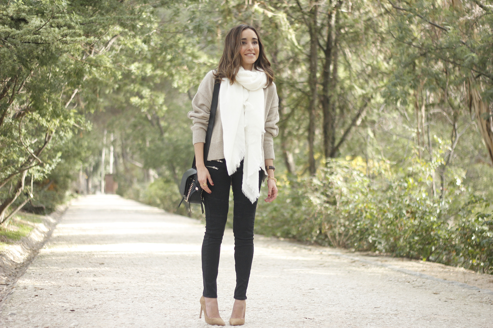 Beige Sweater Black Jeans Nude Heels White Scarf Coach Bag Outfit Style05
