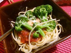 Bowl of Spaghetti with Tomato Sauce and Broccoli