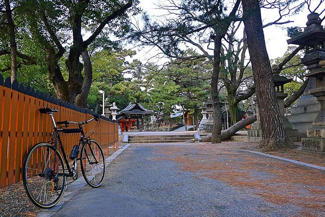 Shrine time. #cycling #cycle #cyclingphotos #cyclelife #bike #bikelife #bicycle #surlycrosscheck #everydaybike #nitto #nittoalbatross #atb #outsideisfree #shrine #japaneseshrine #Osaka #Japan