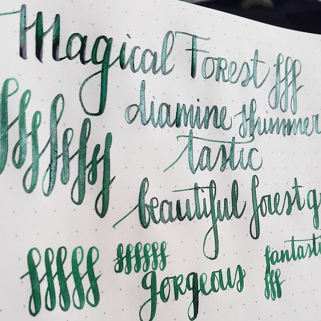 Wow, this green with a pearly shimmer to it is definitely magical! @bureaudirect @mishka5050 #magicalforest #diamine #shimmertastic #shimmeringink #fpgeeks #fountainpenink #FPN #fountainpennetwork #shimmer #allthatshimmers