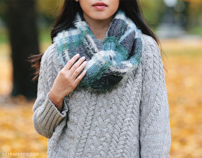 fall knit sweater plaid scarf