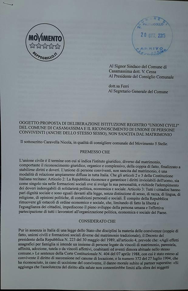 Casamassima- Le proposte del MOvimento 5 Stelle-unioni civili