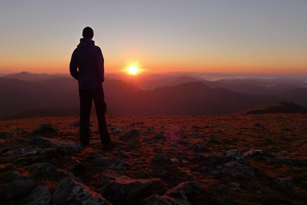 Sunset from Sgurr nan Ceathreamhnan