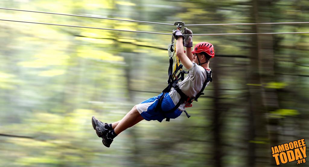 Scouts, Venturers Flew Like Eagles on Summit Zip Lines