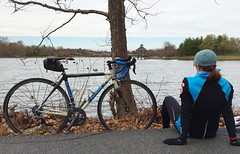 Teresa and her LeMond at Lake Artemesia