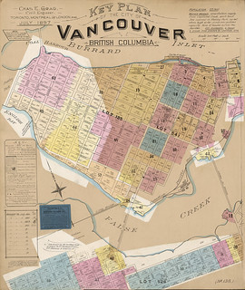 Insurance plan, Key Plan, Vancouver, British Columbia, July 1897, revised June 1901 / Plan d'assurance-incendie : plan directeur, Vancouver (Colombie-Britannique), juillet 1897, révisé en juin 1901