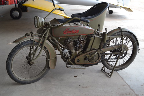 WWI-era Indian motorcycle with sidecar