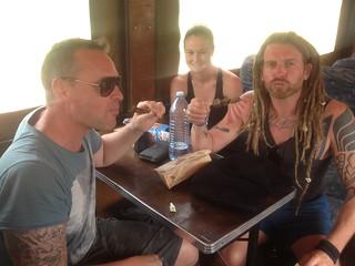 Matt and Matt trying the local Akabanga chilli sauce onboard Shaggy, Liv wanted not part of it