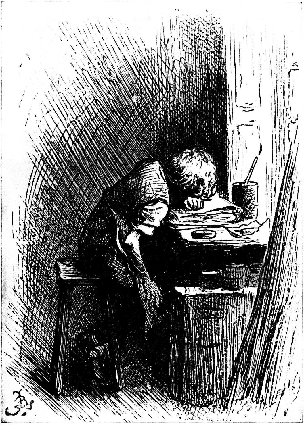 Dickens at the Blacking Warehouse. Charles Dickens is here shown as a boy of twelve years of age, working in a factory