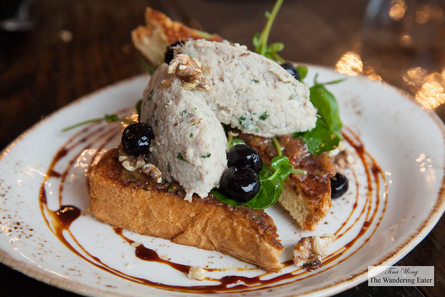 Special - Rabbit rillets on brioche toast, 10-year old pickled blueberries, saba