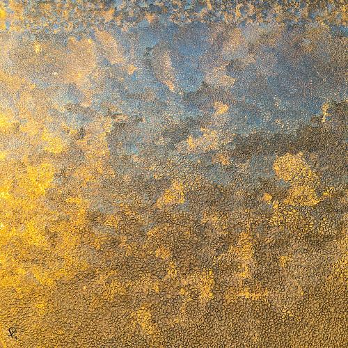 square minimalist minimal sunrise blue yellow frost winter cold