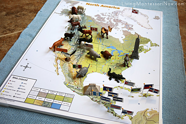 North America Pin Map with Animal Figures and Landmarks