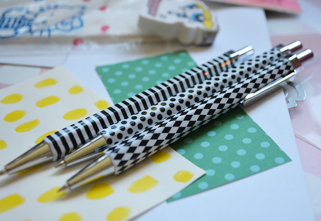Black and white patterned pencils on iHanna's desk