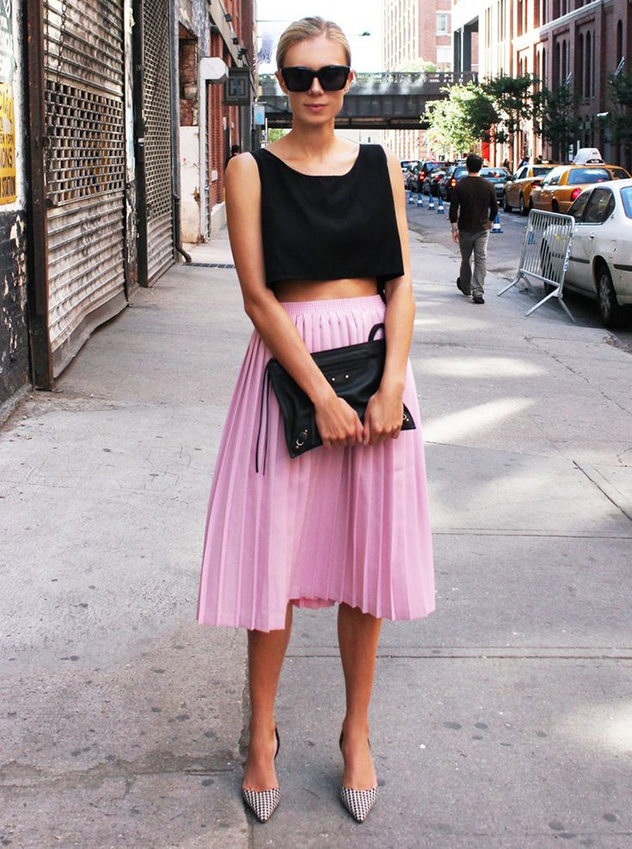 pleated skirts midi streetstyle outfit inspiration8