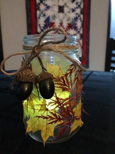 Fall leaf mason jar candle holder