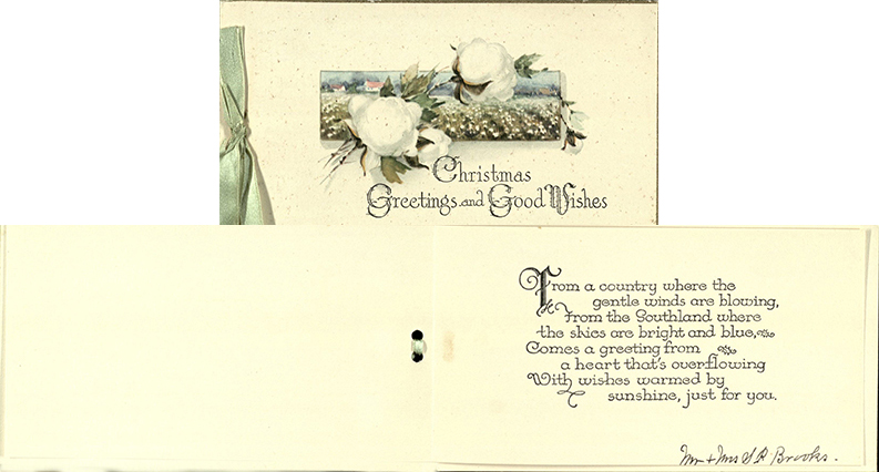 Christmas card, Mr. and Mrs. Samuel Palmer Brooks to Dorothy Scarborough, c. 1932-1934
