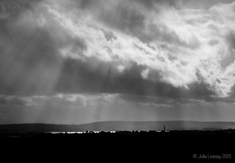 Shafts of sunlight over Poole Harbour