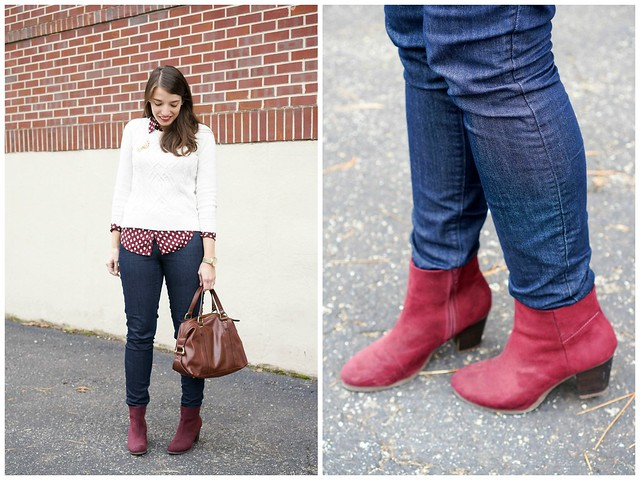 Loft acorn blouse + cable knit sweater + burgundy ankle boots 1