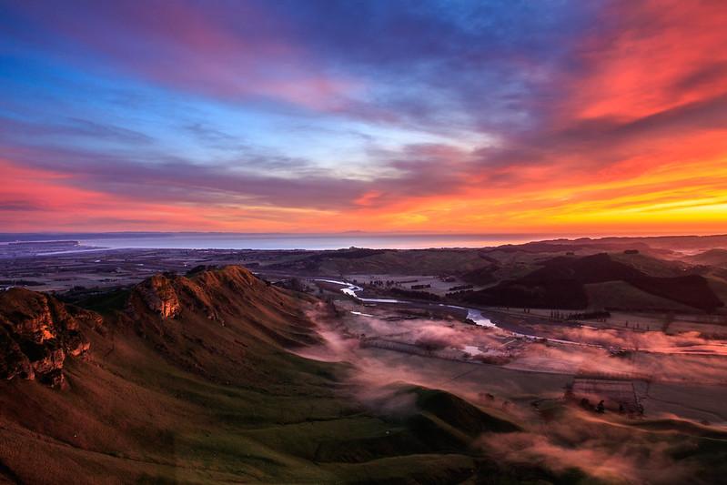Sunrise over the Tukituki valley