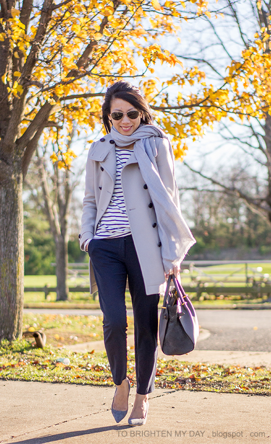 gray scarf, gray coat, striped top, navy pants, gray tote bag, gray suede pumps