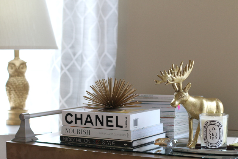 christmas decor, moose, chanel book, gold
