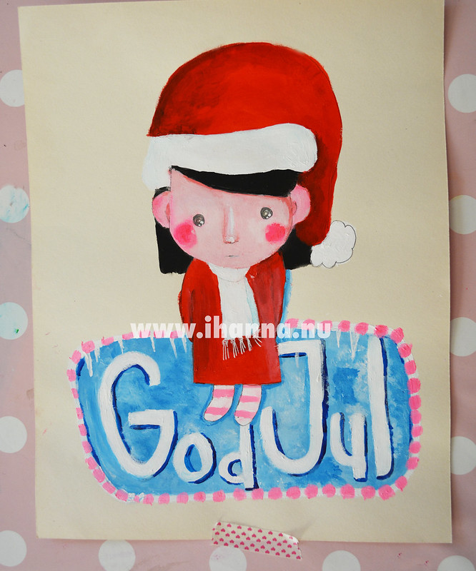 God Jul from me to  you says iHanna with a Christmas Illustration