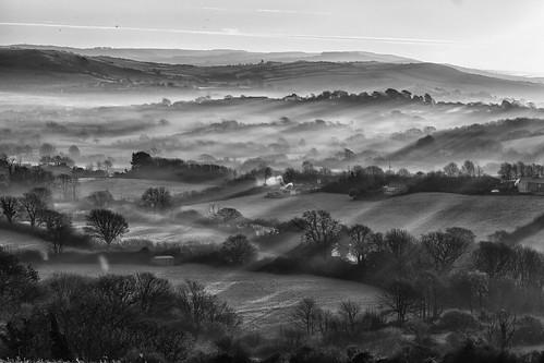 mist fog jebob england dawn morning winter sunrise hedgerows farms rural daybreak sky shadows