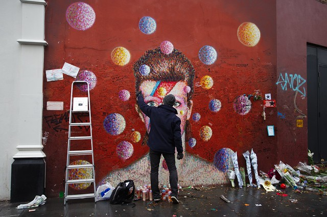 Repainting of the David Bowie mural in Brixton