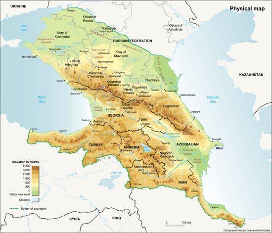 The Caucasus ecoregion, topographic map | GRID-Arendal on