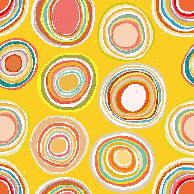 I didn't want to share my next #pattern until I shared more of my swan patterns, but they still aren't done so here is #Bright for #patternjanuary. My idea was scribble-like rainbow suns, and I built most of it in #paper53, and assembled it as a repeating