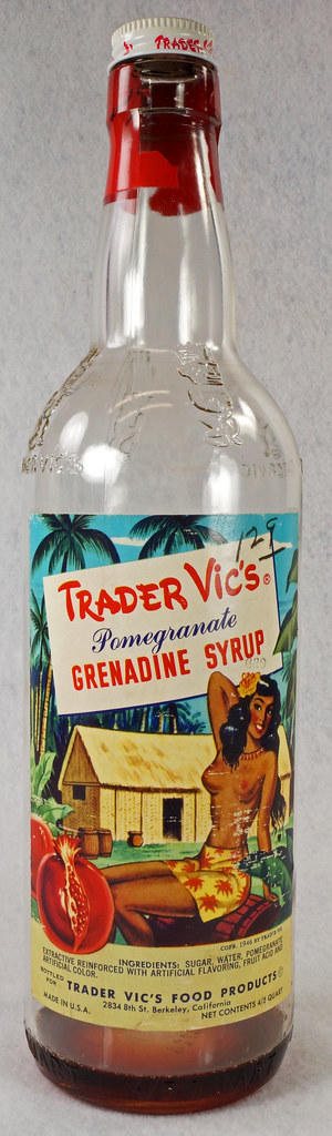 RD15320 Vintage Mid Century 1946 Bottle of Trader Vic's Pomegranate Grenadine Syrup with Topless Girl Tiki DSC09134