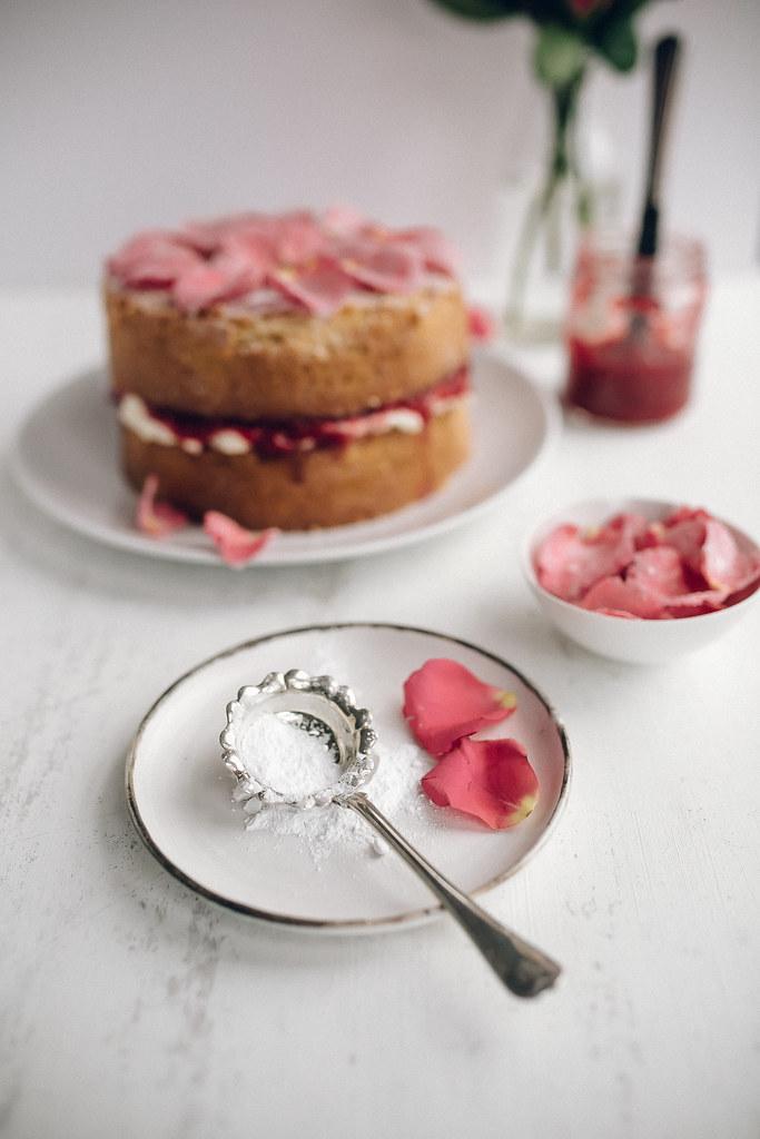 Victorian Sponge Cake with Raspberry Rose Jam & Sugared Rose Petals