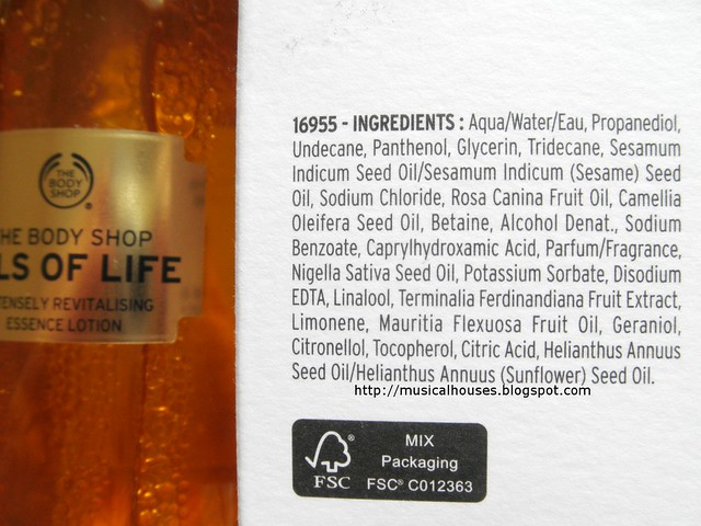The Body Shop Oils of Life Essence Lotion Ingredients