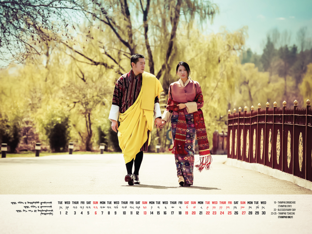 Their Majesties in front of Tashichhodzong - Calendar - September 2015