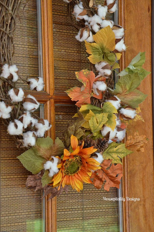 Fall Leaves and Cotton Wreath - Housepitality Designs