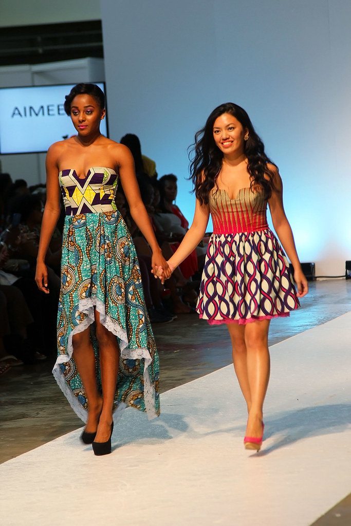 Aimeeku-collection-@AFWL2015,African print bubble hem dress, lace scallop hem mini dress with 'kitenge'/'ankara' jacket, lace bandeau mini dress with African print blazer, lace boob tube mini dress, boob tube mini dress mixed with  silk, chiffon, lace & kitenge fabrics, Strapless Sweetheart Bubble Dress, kitenge bandeau bubble hem dress, denim mixed with kitenge motif romper, striped mini dress with zip kitenge jacket, kitenge mini dress mixed with sheer & silk fabric, kitenge/ankara high-low bandeau dress