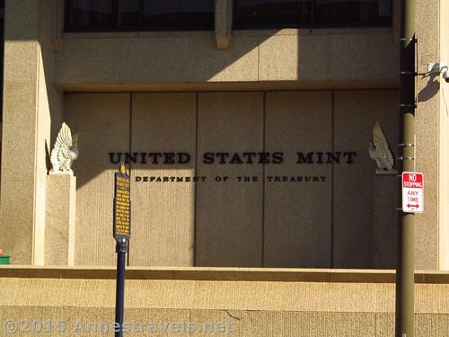 Sign outside the Philadelphia, Pennsylvania, Mint