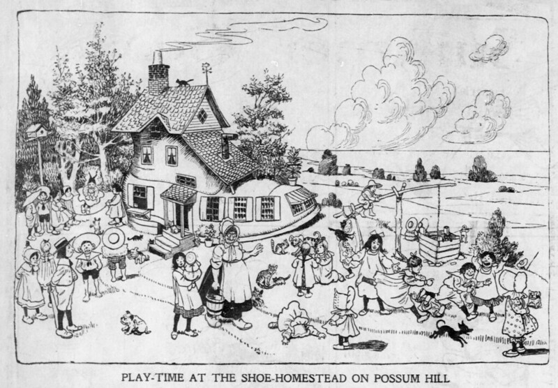 Walt McDougall - The Salt Lake herald., June 22, 1902, Play-Time At The Shoe-Homestead On Possum Hill