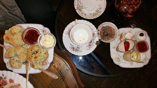 2015-Dec-20 Adonia - afternoon tea for 3 persons, scone and creams trays