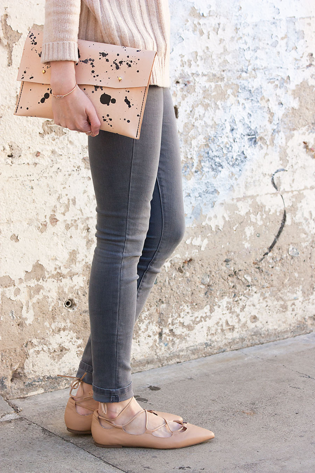 Speckled Clutch, Lace Up Flats, Grey Jeans